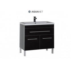 Тумба с раковиной Aquanet Верона 90 чёрная 1 ящик