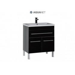 Тумба с раковиной Aquanet Верона 75 чёрная 1 ящик