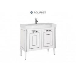 Тумба с раковиной Aquanet Паола 90 белый/серебро