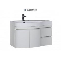 Тумба с раковиной Aquanet Сопрано 95 L белая 2 ящика