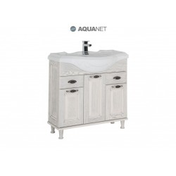 Тумба с раковиной Aquanet Тесса 85 жасмин/серебро