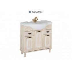 Тумба с раковиной Aquanet Тесса 85 жасмин/золото