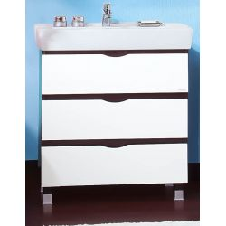 Тумба для ванной Токио 80 венге/белый глянец